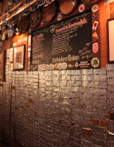 The wall behind the bar at Jack Brown's Beer and Burger Joint, Harrisonburg, VA.