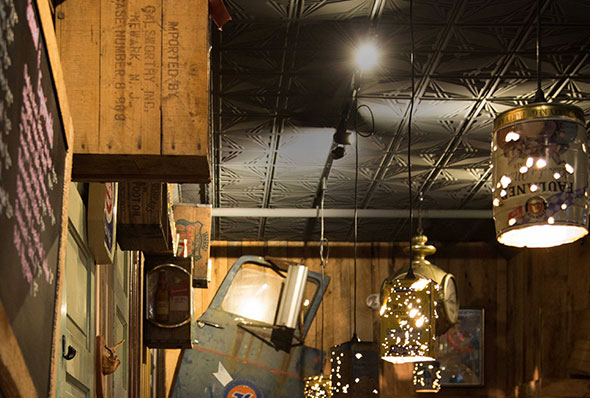 Wall decorations, lights, and the ceiling of Jack Brown's Richmond, VA.
