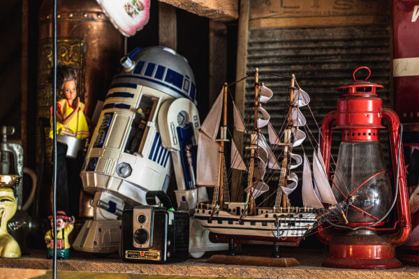 a ship and an R2D2 decorations in Jack Brown's Huntsville